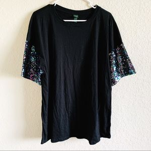 WILD FABLE SEQUIN SLEEVE T SHIRT